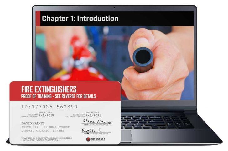 Screen shot and Certificate from the Fire Extinguisher Training Course