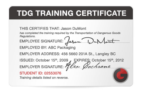 Go safety easy to use certification training for whmis for Dangerous goods certificate template