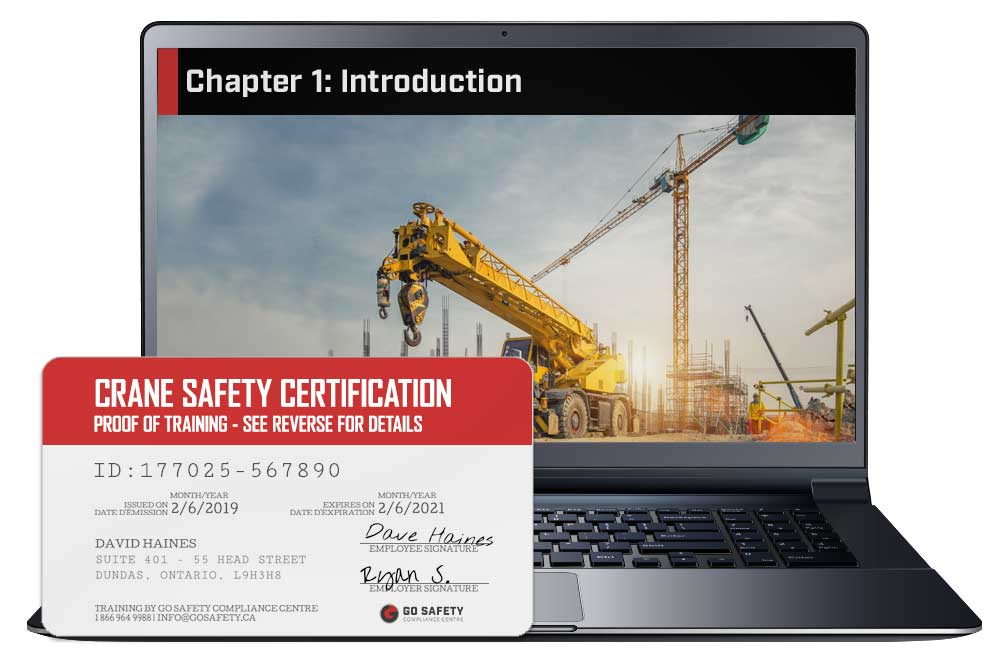 Screen shot and Certificate from the Crane Safety Certification Course