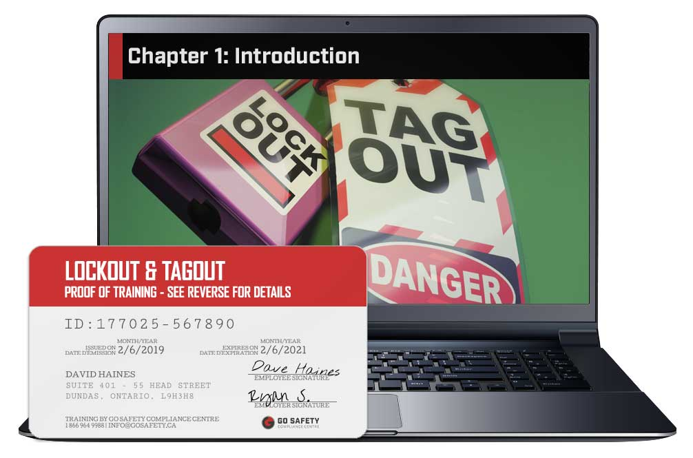 Screen shot and Certificate from the Lockout & Tagout Training Course