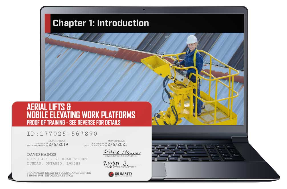 Screen capture and course certificate for the Aerial Lifts & Mobile Elevating Work Platforms course