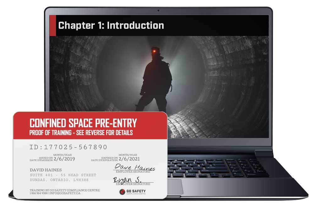 Screen shot and Certificate from the Confined Spaces Pre-Entry Training Course