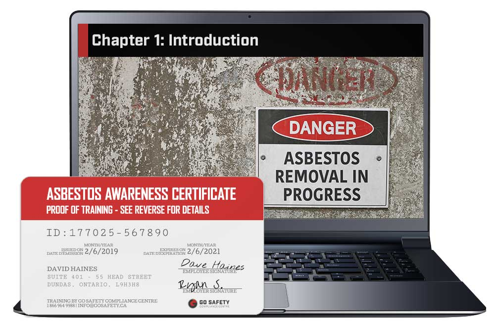 Screen shot and Certificate from the Asbestos Awareness Course