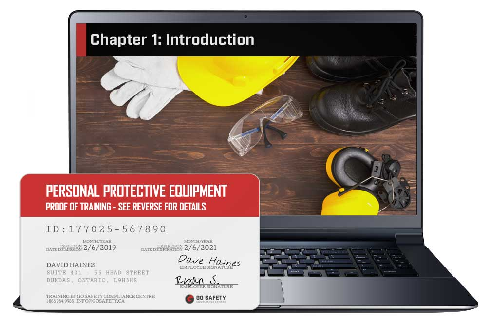 Screen shot and Certificate from the Personal Protective Equipment Course