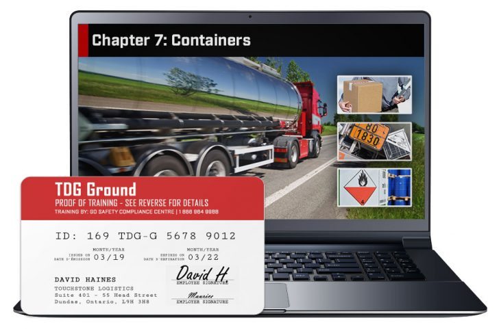 Screen shot of and Proof of Training certificate from the Transporation of Dangerous Goods - Ground Course